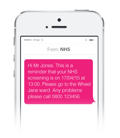 NHS Healthcare example SMS