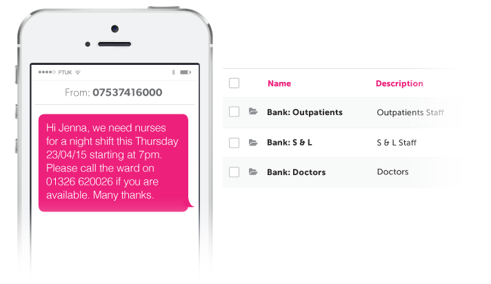 Bank Staff NHS Example SMS