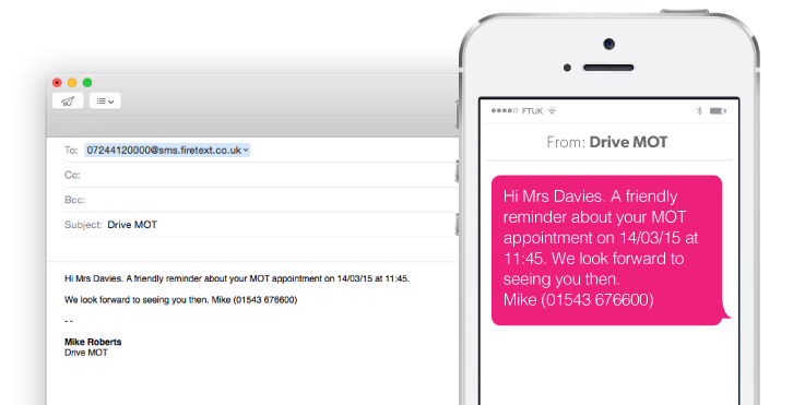 Email to SMS Screenshot