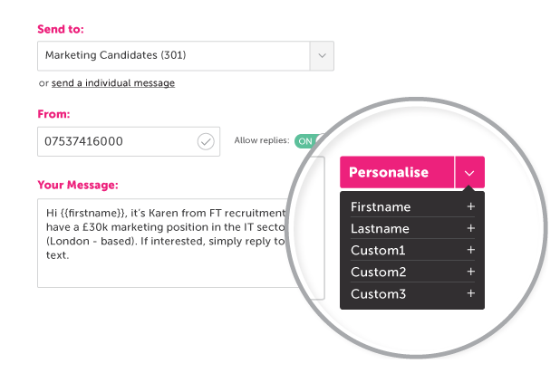 Personalise SMS Message